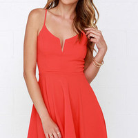 Best Place to V Coral Red Skater Dress