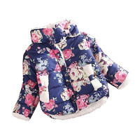 girls warm coat baby winter long sleeve flower jacket children cotton-padded clothes kids christmas outwear a-079