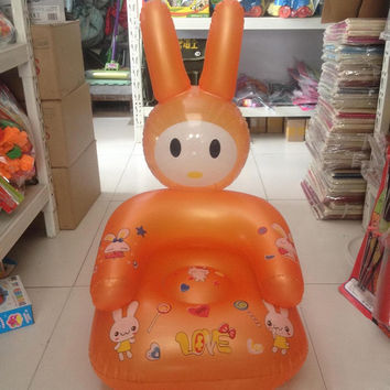 Random Color Cute Portable Cartoon Baby Chair Lovely Inflatable Chair PVC Kids Learn Chairs Baby Seats Free Shipping