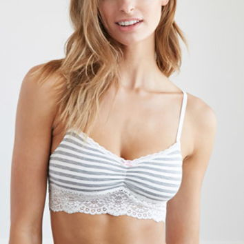 Striped Lace-Trim Bralette - Intimates & Lounge - 2000174205 - Forever 21 UK
