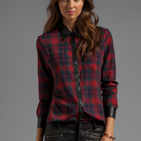 Capulet Leather Contrast Shirt in Plaid from REVOLVEclothing.com