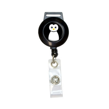 Penguin - Black and White Retractable Badge Card ID Holder