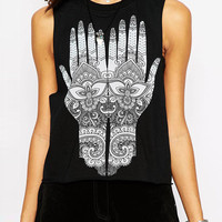 Old Palm Print Sleeveless Graphic Tank