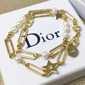 Dior New fashion letter diamond star pearl necklace women Golden