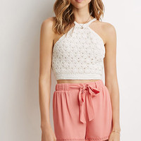 Belted Lace Trim Shorts