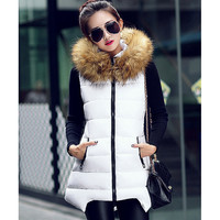 Fashion hooded fur collar coat