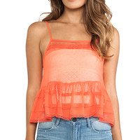Free People Square Neck Ruffle Tank in Red