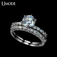 UMODE 7.5mm 1.75ct Cubic Zirconia Shiny Stone Two Band Wedding Ring Vintage Wedding Jewelry Rings UR0001