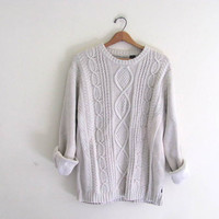 vintage white cable knit sweater // vintage oversized knit cardigan sweater // size L