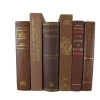 Brown Decorative Books for Display and for Mantel Decor, S/6