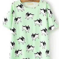 Dip Hem Dog Print Mint Green T-Shirt