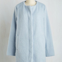 Minimal Long Tender Loving Carriage Ride Coat in Frost