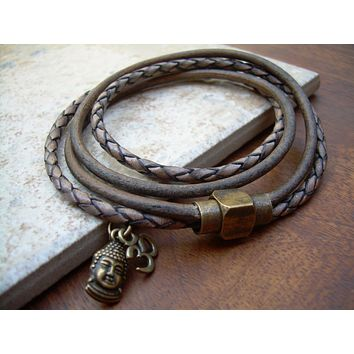Mens Bracelets Leather Braided Leather Bracelets for Women Om Bracelet Leather Bracelet Men Buddha Bracelet Leather Buddha Bracelet Men