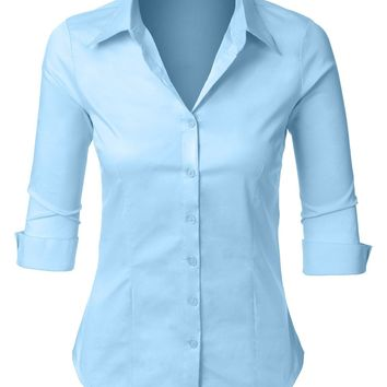 Plus Size Easy Care Roll Up 3/4 Sleeve Button Down Shirt with Stretch (CLEARANCE)