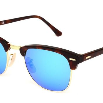 Ray Ban RB3016 Clubmaster Classic Unisex Brown Gold Sunglasses 1286