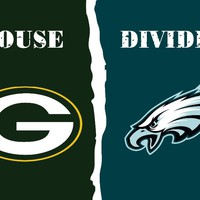 FREE SHIPPING--Green Bay Packers vs Philadelphia Eagles House Divided Rivalry Flag 40141