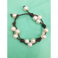 Natural Freshwater Pearl and Leather Bracelet