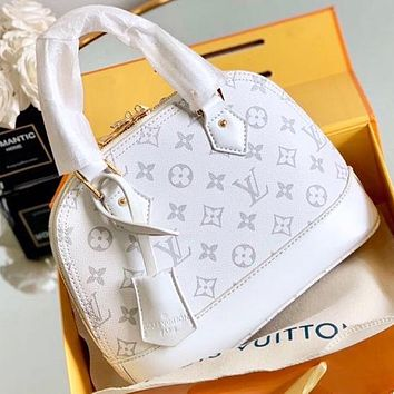 LV New fashion monogram print shell shoulder bag handbag crossbody bag White