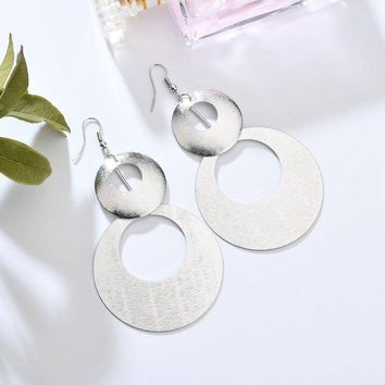 Dangling Double Disc Earrings in Gold or Silver