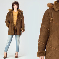 70s Brown Parka Coat / Faux Shearling Hooded Coat / Button Up Mink Fur Trimmed Medium M Coat