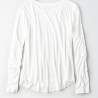 AEO Soft & Sexy Long-Sleeve Favorite T-Shirt, Natural White
