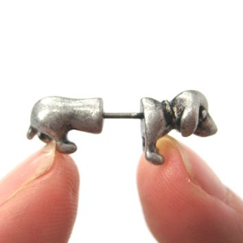 Fake Gauge Earrings: Realistic Dachshund Puppy Dog Animal Stud Earrings in Silver