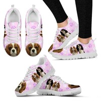 Cavalier King Charles Spaniel In Tri Color Print Running Shoe For Women(White/Black)- Free Shipping