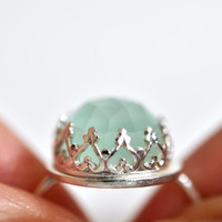 Sterling Silver Ring - Aqua Chalcedony Ring - Cocktail Ring - Blue Gemstone Ring - Heart Ring - Crown Ring - Statement Ring - Dainty Ring