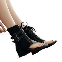 Women Casual Platform Black Flip Flop Wedge Sandals