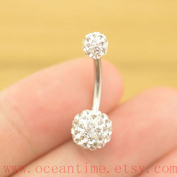 BellyButton Rings,stunning belly button jewelry,white diamond sparkling Navel Jewelry,friendship bellyring,oceantime