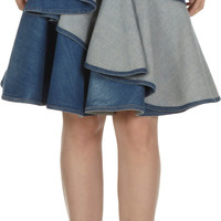 Long Ruffled Denim Skirt
