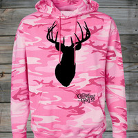 Women's Country Girl ® Deer Head Pink Camo Hoodie