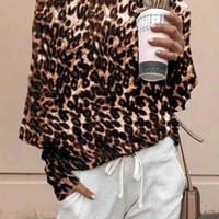 New Coffee Leopard Print One-shoulder Long Sleeve Casual T-Shirt