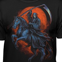 Grim Reaper Riding Rearing Horse With Blood Moon T-shirt