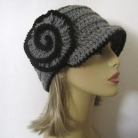 Cloche Hat in Grey and Black, Crochet Flower Hat