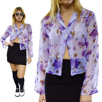 Vintage 90s Anxiety Purple Floral Flowers Sheer Long Sleeve Button Down Shirt