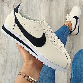 Nike Nike Classic Cortez Forrest Series Beige + black hook(small blue Sign£©