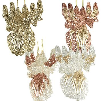 Hanging Pair of Angel Christmas Ornament, 5-3/4-inch, 4 Piece