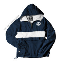 Monogrammed Striped Pullover Rain Jacket - Navy & White