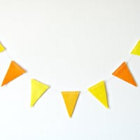 Flag Triangle Garland - Felt Bunting, Felt Garland, bright home decor, yellow and orange