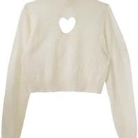High Neck Heart Cut-out Crop Beige Sweater