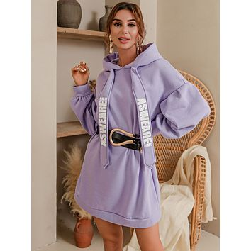 Glamaker Letter Graphic Drawstring Hooded Sweatshirt Dress