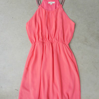 Starlit Coral Meadow Party Dress