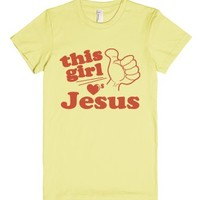 This Girl Loves Jesus-Female Lemon T-Shirt