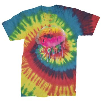 Neon Dripping Lips  Mens Tie-Dye T-shirt