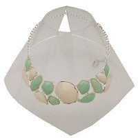 Karine Sultan Green and Cream Statement Necklace in Silver