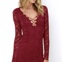 Entwine and Dine Wine Red Lace Dress