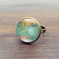 Art World Map Vintage Globe Ring Planet Earth
