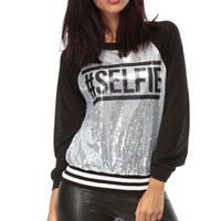 Hashtag Selfie Silver Sequin Sweater