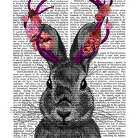 Jackalope with Pink Antlers, recycled vintage Dictionary Page, Wall Art Print wall decor picture wall hanging dorm decor illustration